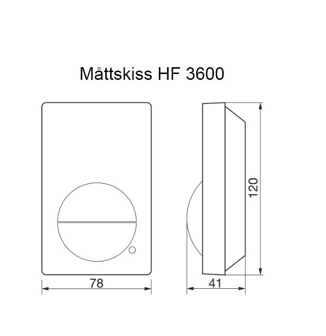 Måttskiss rörelsevakt HF 3600 Steinel