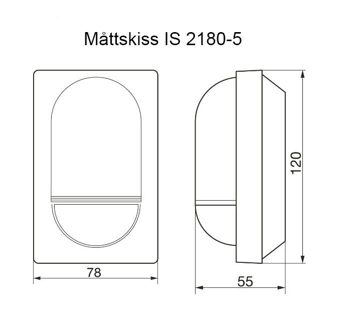 Måttskiss rörelsevakt IS2180-5 Steinel