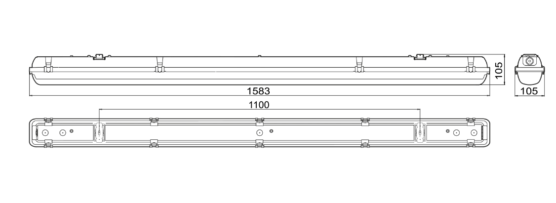 Måttskiss sensorarmatur 5850 Steinel