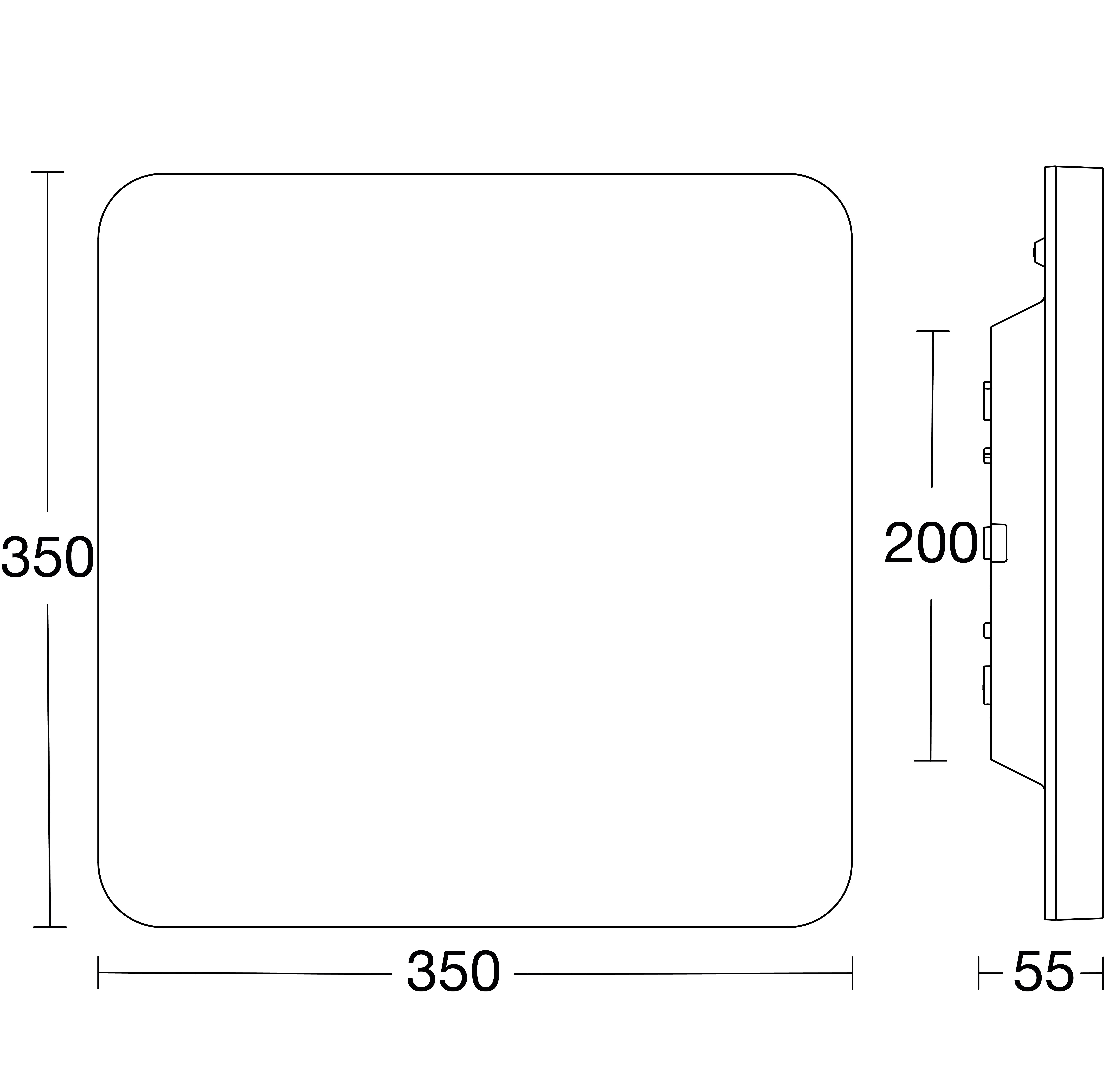 RS PRO Connect R30 kvadrat måttskiss