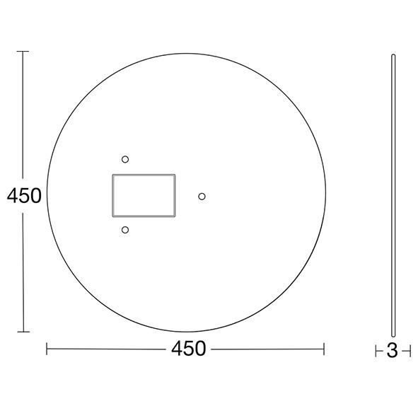 Täckskiva för tak till serie R mått